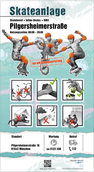 Schild für Skateanlage normkonform nach DIN EN 14 974, entwickelt von Massstab Mensch