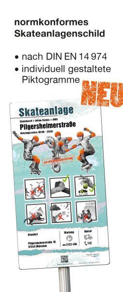 normkonformes Schild für Skateanlagen entsprechend DIN EN 14 974, entwickelt von Massstab Mensch