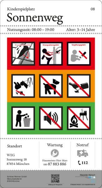 normkonformes Schild für Spielplätze nach DIN EN 1176, entwickelt von Massstab Mensch