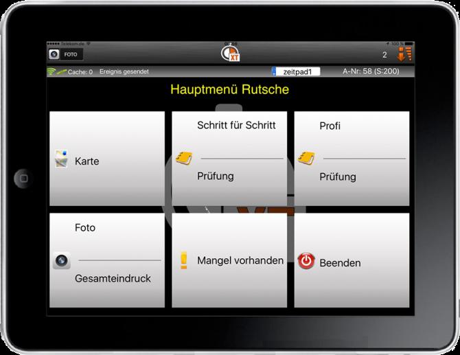 Benutzeroberfläche Prüf-Software für Spielplätze ZeitpadXT, Massstab Mensch